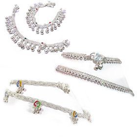 Set of 3 Pair Silver Plated Baby Girl Child Kids bracelet anklet Payal 7inch