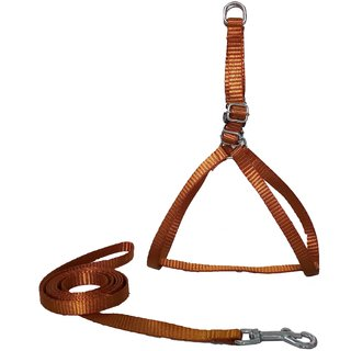 Petshop7 Nylon  Dog Harness  Leash 0.5 Inch - Brown (Chest Size  16-21 Inch) - Xtra Small