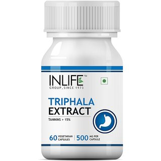 INLIFE Triphala Extract Haritaki and Bibhitaki, Digestion Support Supplement, 500 mg - 60 Vegetarian Capsules