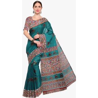 Swaron Women's Turquoise and Multi Colored Printed Art Silk Saree With Unstitched Blouse