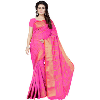 Swaron Women's Pink and Golden Colored Jacquard Woven Poly Silk Saree With Unstitched Blouse