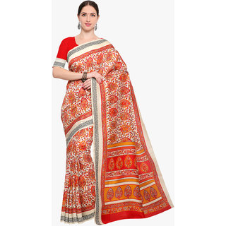 Swaron Women's Cream and Red Colored Printed Terylene Saree With Unstitched Blouse