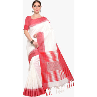 Swaron Women's White and Red Colored Woven Lining Bhagalpuri Silk Saree With Unstitched Blouse