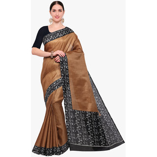 a73526c325d71f Swaron Women s Brown and Black Colored Printed Art Silk Saree With Unstitched  Blouse