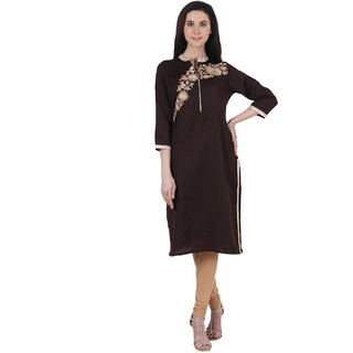 Purple Tree Full length Solid Embroidered mandarin 3/4th sleeve Brown Womens Kurti