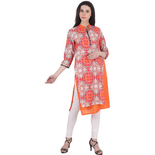 Purple Tree Full length Printed A-line mandarin 3/4th sleeve Orange Womens Kurti