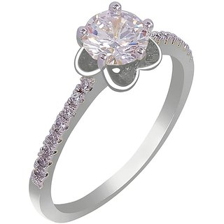 MUCH MORE White Silver Plated Alloy Ring For Women