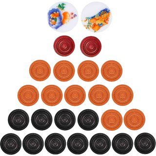 Grazzo Lightweight Large Carrom Board Coins Standard Size Training Fun 24 Large Carrom Coins and Strikers