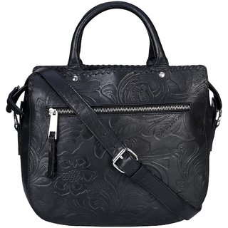 Old Tree Black Plain Handbag
