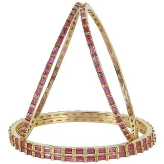 MUCH MORE Pink Gold Plated Alloy Bangles For Women