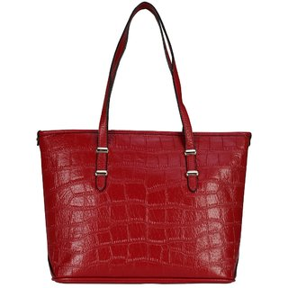 Old Tree Red Plain Handbag