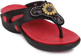 Action Shoes Women Eva Clogs Slippers 659-Black-Red