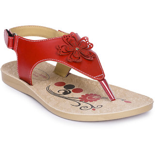 Action Shoes Red Velcro Sandals