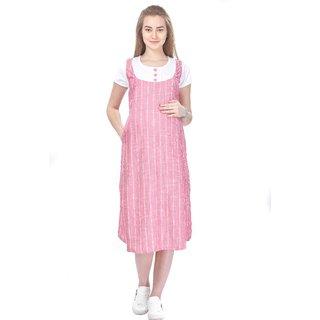 MomToBe Women's Rayon White & Pink Maternity Dress