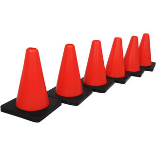 Grazzo Marker Cone Set of 6 Red Black Color Cones With Base for stability Perfect For Soccer Football Any Ball Game To Mark
