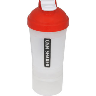 Grazzo Sports Shaker Mixer Bottle for Gym Yoga Running Camping, Leak Proof Secure Top, Triple Partition