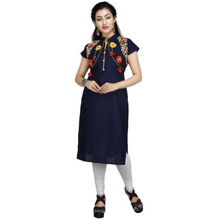 Vedika Creations Cotton & Rayon Blue Kurta Kurti