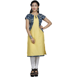 Vedika Creations Cotton & Rayon Yellow Kurta Kurti
