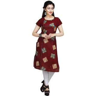 Vedika Creations Cotton & Rayon Brown Kurta Kurti