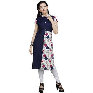 Vedika Creations Cotton & Rayon Blue & Pink Kurta Kurti