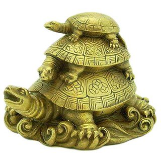 only 4 you  Fengshui 3 Tier Tortoise Showpiece for Longevity, Love  Harmony of Family - 8 cm (H)