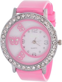 Glory Pink Diamond Fancy Letest Butterfly Print Collection Analog Watch - For Woman