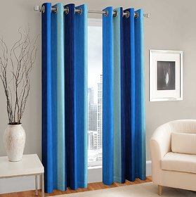 MSD QUALITY Eyelet Polyester Door Curtain Set - 7ft, Blue