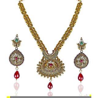 Biyu Zinc Gold Plating Stones Studded Gold Coloured Necklaces Set