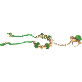 Loops n knots Green Ring Bracelet Hand Chain Bracelet With Ring Attached Bangle (js006)