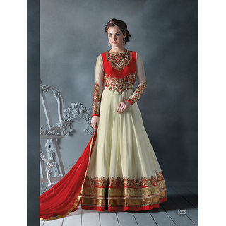 Thankar Latest Designer Off White  Red Long Sleeve Anarkali Suit