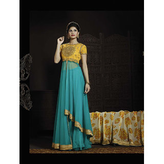 Thankar Aqua And Yellow Embroidered Net Anarkali Suit