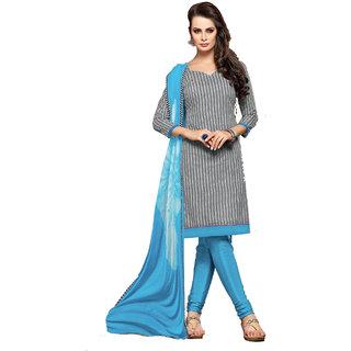 Parisha Gray And Blue Polycotton Printed Kurta & Churidar Dress Material (Unstitched)