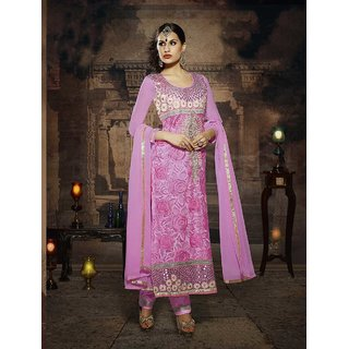 Thankar Pink And Off White Embroidered Net Straight Suit (Unstitched)