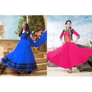 Ladyview Combo One Blue Anarkali Suit And Pink Designer Anarkali Suit