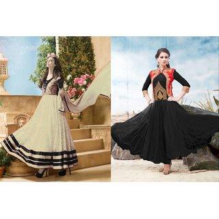 Ladyview Combo One Cream Anarkali Suit And Black Designer Anarkali Suit