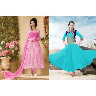 Ladyview Combo One Pink Anarkali Suit And Sky Designer Anarkali Suit