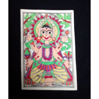Handcfated postcard of Viswakarma in Madhubani style.