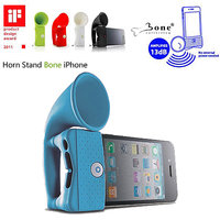 Gadget Hero's Bone Horn Stand Portable Un-Powered Speaker Amplifier Upto 13db For IPhone 4 4S BLUE COLOR