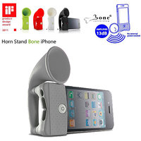 Gadget Hero's Bone Horn Stand Portable Un-Powered Speaker Amplifier Upto 13db For IPhone 4 4S GREY COLOR