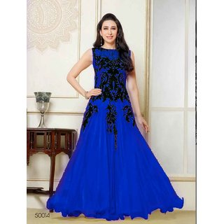 Ladyview Blue Net Embroidered Anarkali Suit