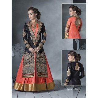 Thankar Latest Designer Heavy Orange And Black Embroidery Indo Western Style Str (Unstitched)