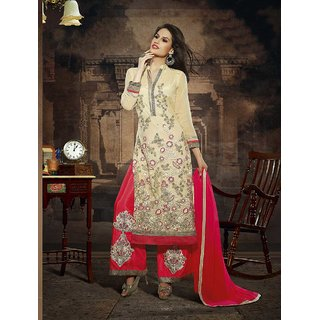 Thankar Cream And Red Embroidered Net Straight Suit (Unstitched)