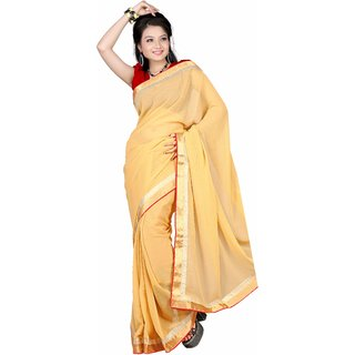 florence clothing company Yellow Georgette Plain Saree With Blouse