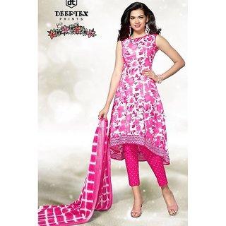 Cotton Designer Printed Suit. Pink colour.