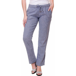 Kotty Regular Fit Women's Linen Blue Trousers