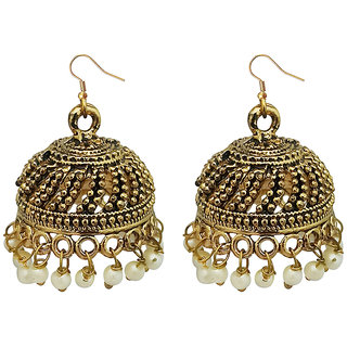 JewelMaze White Beads Antique Gold Plated Jhumki Earrings -1309339A