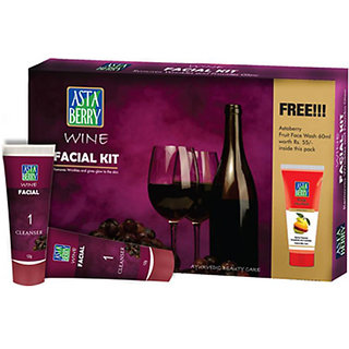 Astaberry Wine Facial Mini Kit + Free get Astaberry skin fruit face wash worth Rs 55/
