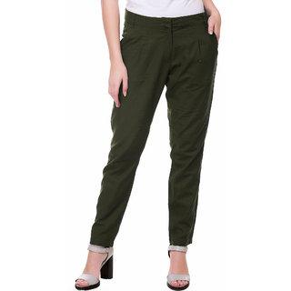 Kotty Regular Fit Women's Linen Green Trousers