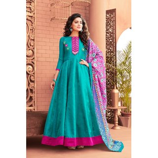 Salwar Soul Womens Latest Designer Trendy Sky Blue Satin Silk Party Wear  Anarkali Salwar Suit