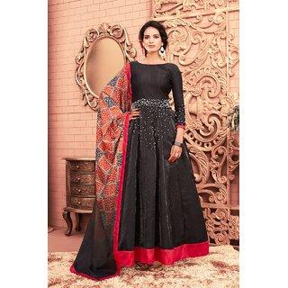 eea7d31d0d Buy Salwar Soul New Designer Beautiful Party Wear Trendy Black Satin Silk  Anarkali Salwar Suit For Girls Online - Get 65% Off